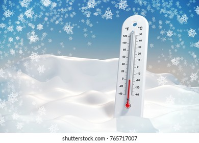 Thermometer in the frost in a snowdrift. Wallpaper. 3d illustration