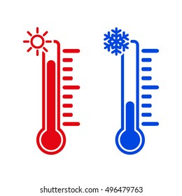 The thermometer icon. High and Low temperature symbol. Flat  illustration
