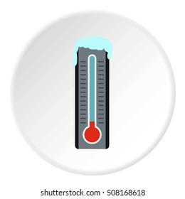 Thermometer with low temperature icon. Flat illustration of thermometer with low temperature  icon for web
