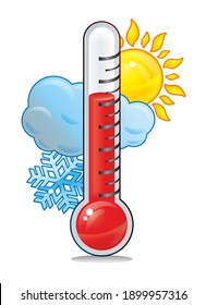 Thermometer measuring heat and cold, with sun, cloud and snowflake on a white background.