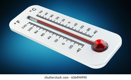 Thermometer with red temperature rise on blue background 3D rendering