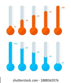 Thermometer Signs Different Types Set Hot or Cold Temperature Signs Blue and Red. illustration of Thermometers