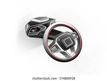 Thi is sketch of steering wheel. It is inovative design in present . Dinamics sketch steering wheel is part in interier car.