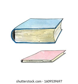 Thick and thin books. Watercolor illustration isolated on white.