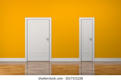 Thick and thin door. 3d illustration