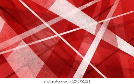 thick and thin stripes and triangle shapes layered on red abstract background, random intersecting angled  lines in geometric design