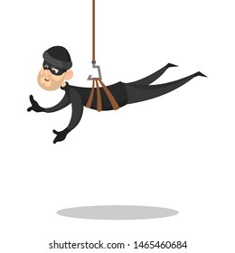 Thief or burglar in black clothes and mask. Crime character stealing something. Security and safety danger concept. Isolated  illustration in cartoon style