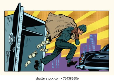 thief escapes from a Bank, bag of money. Crime and detective. Pop art retro  illustration