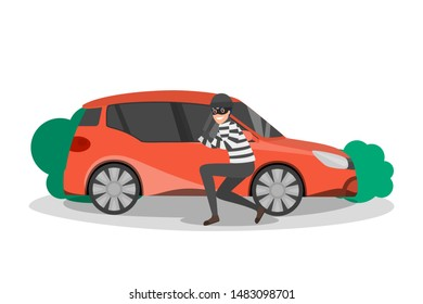 Thief standing at car and break through the door. Vehicle steal risk. Auto in danger. Isolated flat illustration