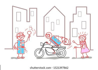 Thief steals bag to an old woman and flees on a motorcycle; the police stops him - cartoon concept illustration.