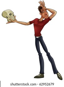 a thin actor with a skull playing hamlet