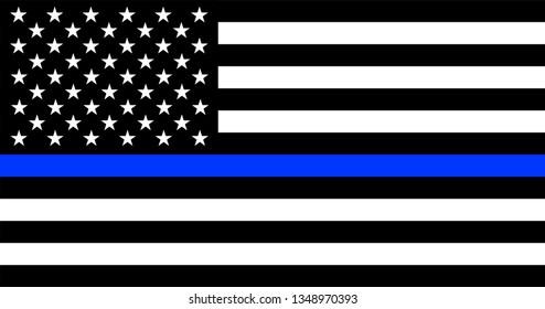 Thin Blue Line American Police Flag