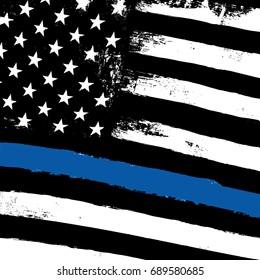 Thin Blue Line. Black Flag with Police Blue Line. Closeup  raster background