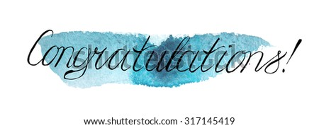 thin calligraphic inscription word congratulations on stock