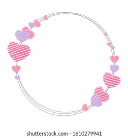 Thin delicate round wreath shaped frame with striped pink lilac hearts isolated on white background for holiday love and wedding design, paper products, greeting cards, valentine, etc