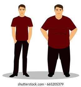 Thin and fat. Obesity. From thin to fat. Boy getting fat, gaining weight. Isolated objects.  illustration.