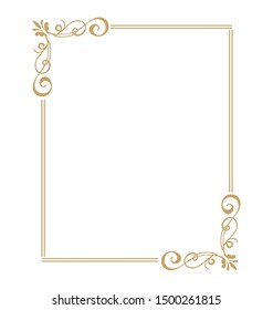 Thin gold beautiful decorative vintage frame for your design. Making menus, certificates, salons and boutiques. Gold frame on a dark background. Space for your text.