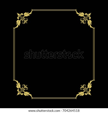 2a9402055b1d Thin gold beautiful decorative vintage frame for your design. Making menus,  certificates, salons