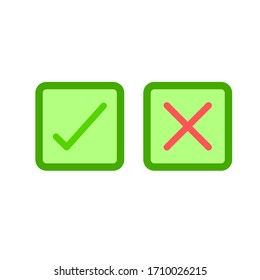 Thin line check mark icons. Green tick and red cross checkmarks flat line icons set. illustration on white background