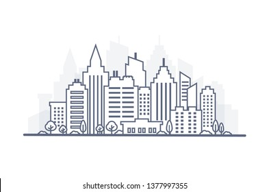 Thin line City landscape. Downtown landscape with high skyscrapers. Panorama architecture City landscape template. Goverment buildings Isolated outline illustration. Urban life illustration