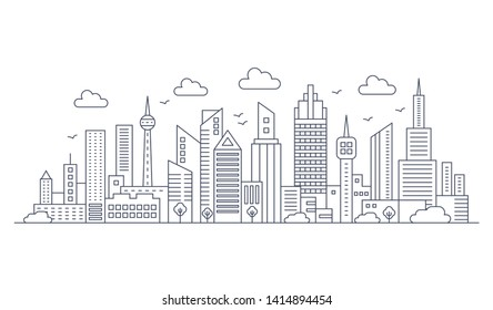 thin line city panorama landscape. Modern architecture urban city with high skyscrapers.