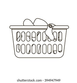 Thin line icon of loundry basket with dirty clothes. Black and white