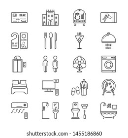 thin line icons set hotel and rest. linear flat style trend modern logotype graphic art design isolated on white. holiday trip with baggage to lux apartment or infographic for hostel website concept