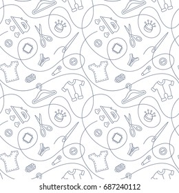 Thin line seamless pattern with sewing tools linear icons scattered on white background. Outline seamstress supplies for tailoring and needlework. Handmade kids clothes wrapping paper design.
