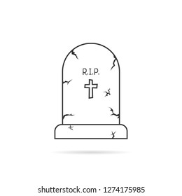 thin line simple tombstone. concept of affliction, fatal, abbey, funerary, crypt, mystery, mournful, funereal. flat style trend modern unusual logo design art illustration on white background