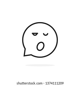 thin line sleepy emoji speech bubble logo. concept of character sticker, somnolent person, web simple circle sign, rest, slumbery. flat style trend modern logotype graphic design on white background