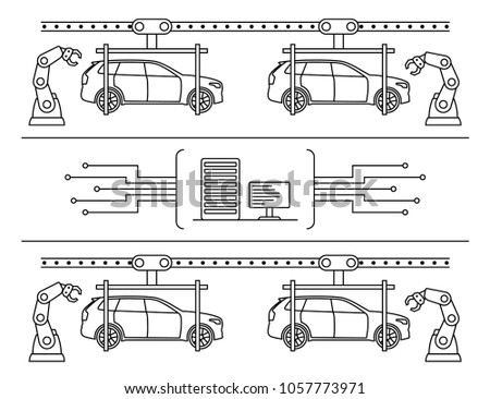 royalty free stock illustration of thin line style car assembly line Old Automotive Assembly Line thin line style car assembly line automatic auto production conveyor robotic car machinery industry