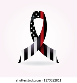 A thin red line firefighter American flag support ribbon illustration.