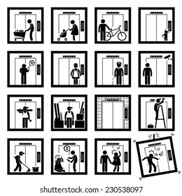 Things that People do inside Elevator Lift Stick Figure Pictogram Icons (second version)