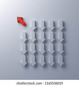 Think different One red arrow going to the bright light away from other down arrow directions on white wall background individuality and different creative idea concepts 3D rendering