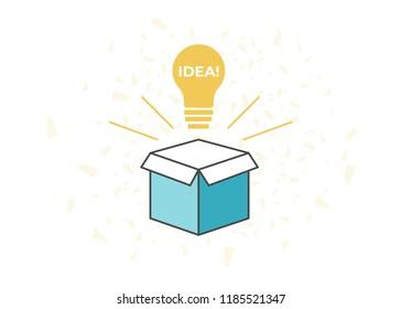Think idea outside the box. Creative idea box
