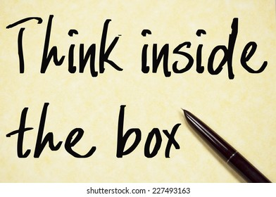 think inside the box text write on paper