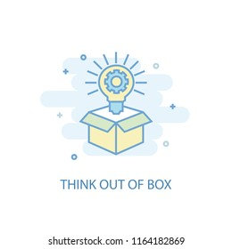Think out of box line trendy icon. Simple line, colored illustration. Think out of box symbol flat design from Project Management set. Can be used for UI/UX