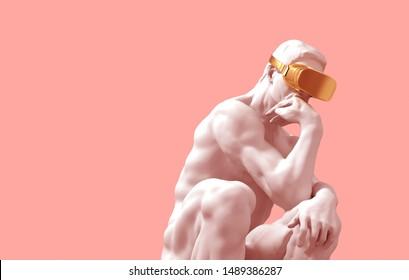 Thinker With Golden VR Glasses Over Pink Background. 3D Illustration.