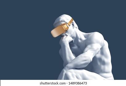 Thinker With Golden VR Glasses Over Blue Background. 3D Illustration.