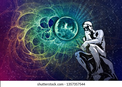 Thinker man sitting among fantasy space. Stylized silhouette of male person alone on a fantastic background of stars and planet. Conceptual symbol of wisdom, thinking, meditation and mental clarity.