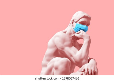 Denker in medizinischer Maske auf rosafarbenem Hintergrund. Novel Coronavirus (Covid-19). Konzept der Coronavirus-Quarantine. 3D-Illustration.