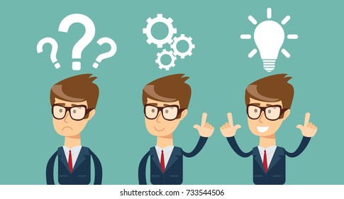 Thinking. Businessman solving a problem business concept . Stock illustration for poster, greeting card, website, ad, business presentation, advertisement design.