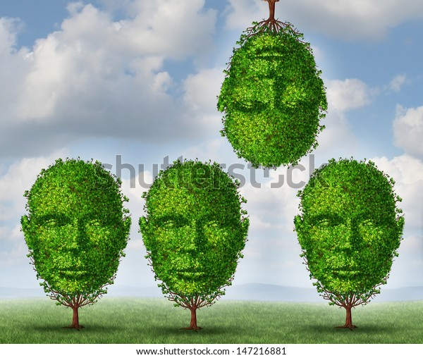 Thinking different creativity concept with a group of trees shaped as a human head with one tree upside down as a symbol freedom and of out of the box creative solutions on a summer sky background.