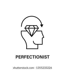 thinking, head, diamond, arrow, perfectionist icon. Element of human positive thinking icon. Thin line icon for website design and development, app development. Premium icon