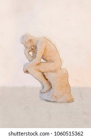 thinking man sculpture, watercolor style