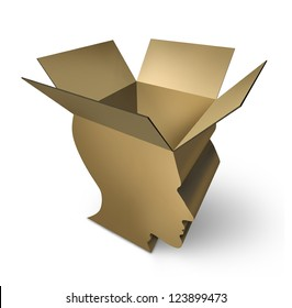 Thinking out of the box with an open three dimensional cardboard packaging in the shape of a human head as a symbol of brain intelligence and having an open mind for innovation and solutions.
