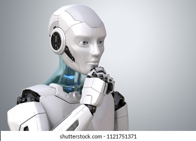 Thinking robot. Clipping path included. 3D illustration