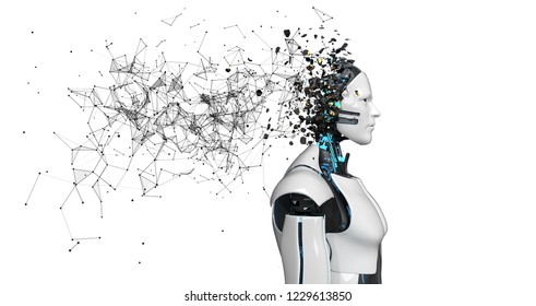 A thinking robot with fragmented head and low poly network on the white background. 3d illustration.