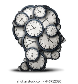 Thinking time concept as a group of clock objects shaped as a human head as a business punctuality and appointment stress metaphor or deadline pressure and overtime icon as a 3D illustration.