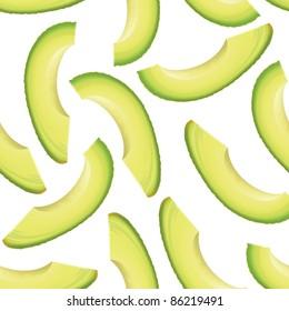 Thinly sliced pieces avocado. Seamless background. Raster version.